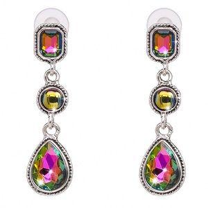Jewelry - Silver & Rainbow Crystal Drop Earrings